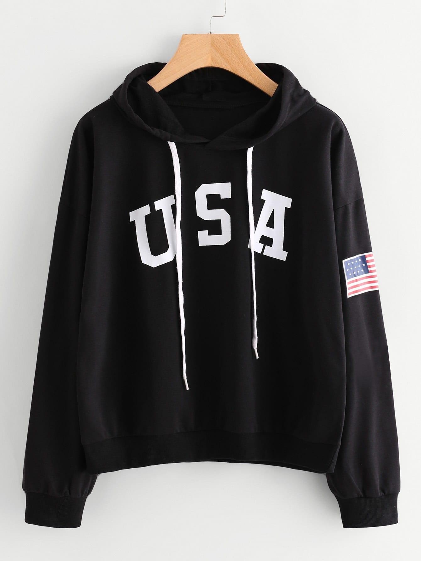 Flag Printed Drawstring Hoodie kids drawstring hoodie jacket