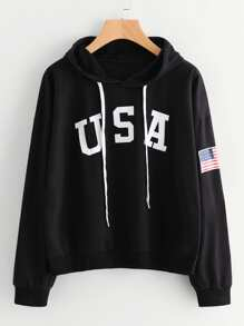 Flag Printed Drawstring Hoodie