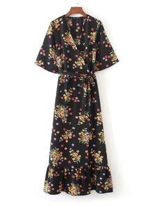 Floral Print Tie Waist Ruffle Hem Wrap Dress