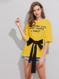 Drop Shoulder Letters Print Tied Front Tee