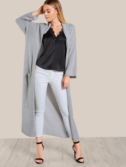 Long Sleeve Open Floor Length Cardigan GREY