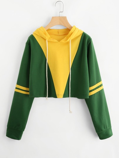 Color Block Striped Sleeve Crop Hoodie