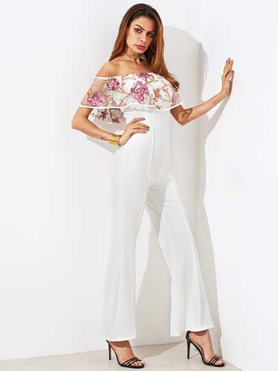 Embroidered Mesh Flounce Trim Tailored Flare Jumpsuit