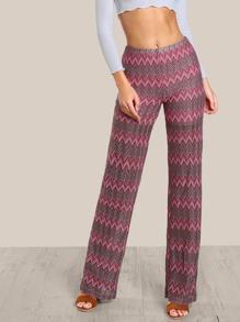 Chevron Stripe Multi Color Pants RED