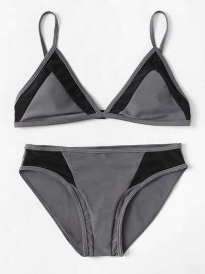 Contrast Panel Triangle Bikini Set