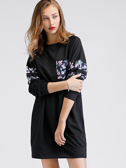 Contrast Panel Raglan Sleeve Sweatshirt Dress