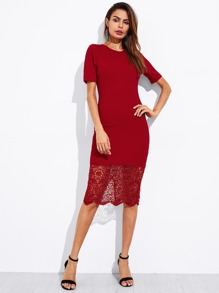 Lace Hem Slit Back Form Fitting Dress