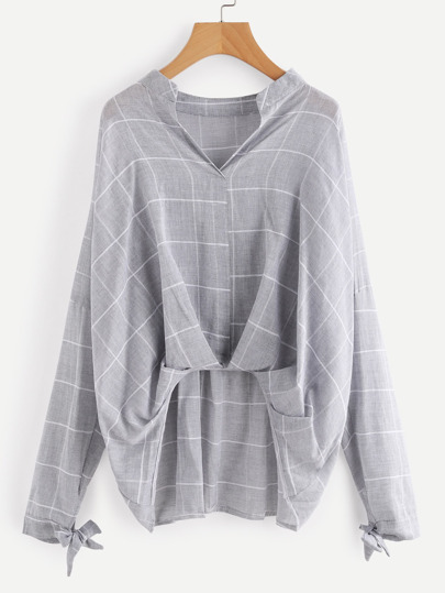Grid Drop Shoulder Pleated Detail Blouse