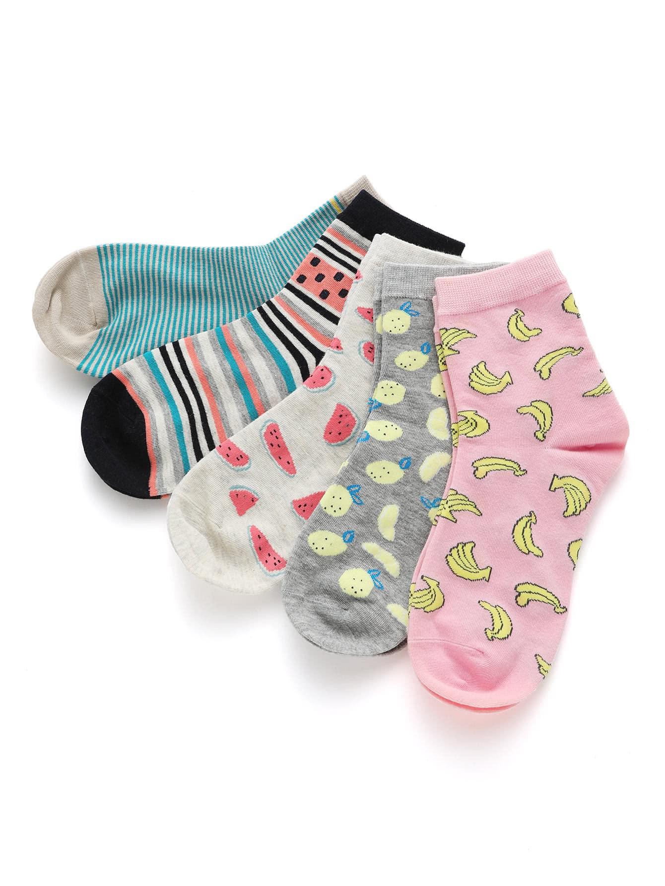 Fruit Print Ankle Socks 5pairs женские чулки 1 5pairs
