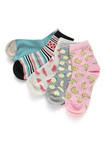 5 pares de calcetines con estampado de fruta
