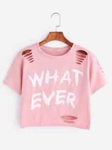 Letter Print Ripped Crop T-shirt