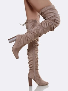 Faux Suede Slouchy Boots TAUPE