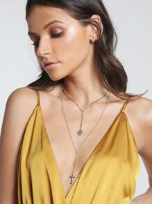 Tri Layered Cross Necklace GOLD