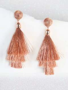 Metallic Tassel Earrings ROSE GOLD