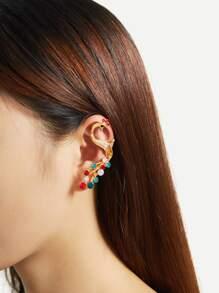 Rhinestone Peacock Design Ear Cuff 1pc