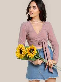 Tie Front Rib Knit Wrap Crop Top