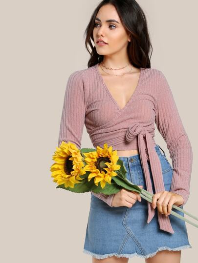 Rib Knit Surplice Wrap Crop Tee