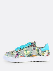 Oriental Inspired Lace Up Sneakers WHITE