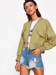 Ribbed Trim Drop Shoulder Crop Jacket