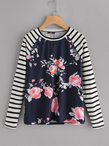 Striped Raglan Sleeve Floral Tee