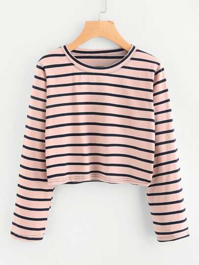 Cropped Stripe T-shirt