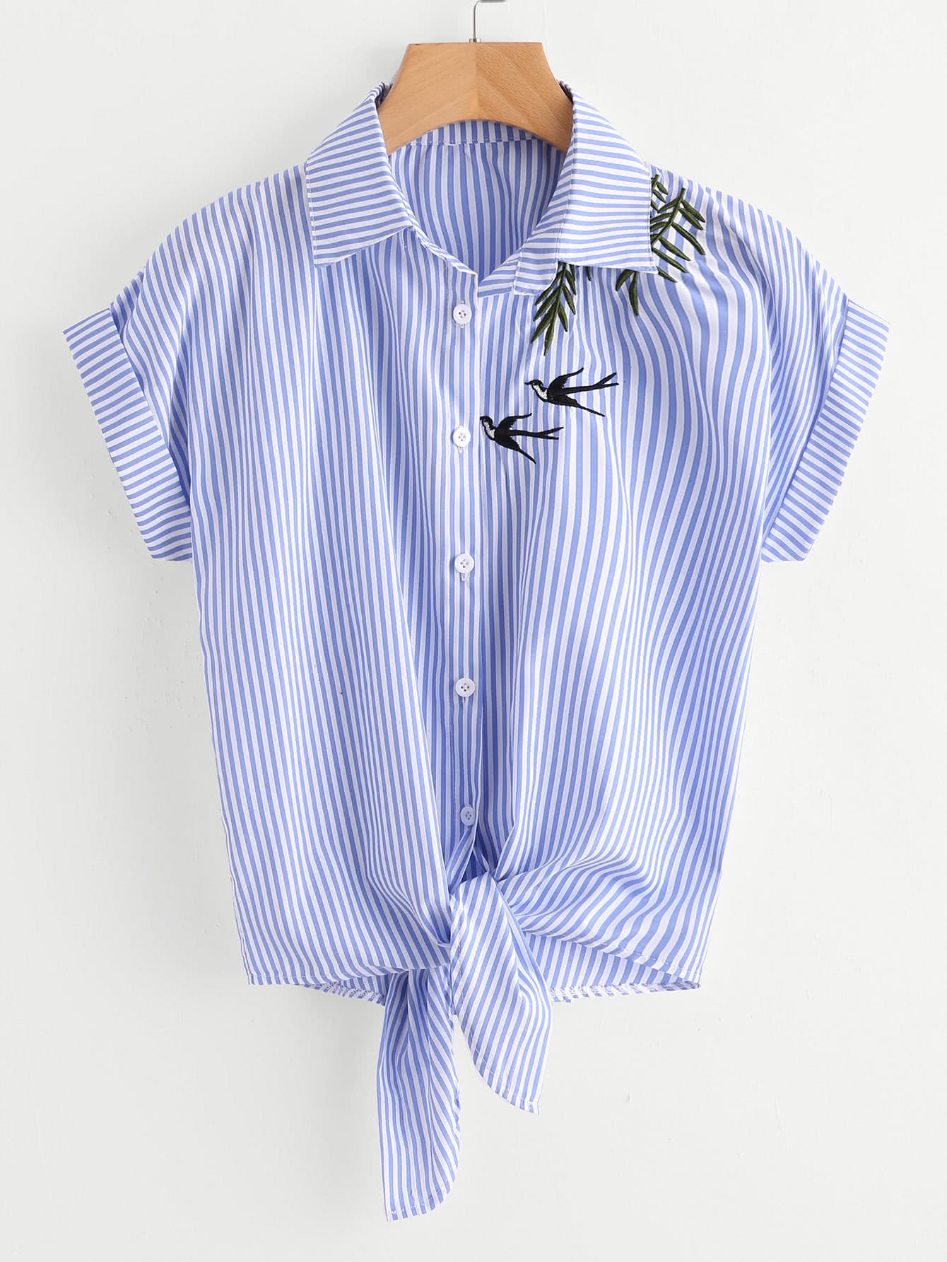 Swallows Embroidered Striped Knot Front Cuffed Shirt back pleat embroidered striped shirt