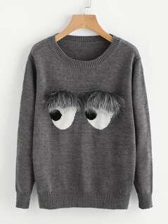 Faux Fur Embellished Eyes Pattern Jumper