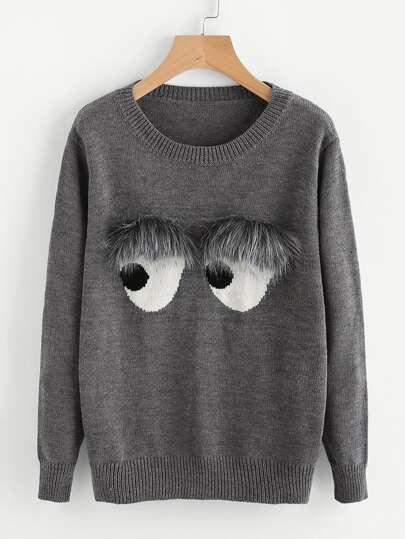 Maglione con abbellito di pelliccia ecologica