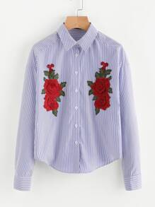 Symmetric Embroidery Patch Curve Hem Shirt
