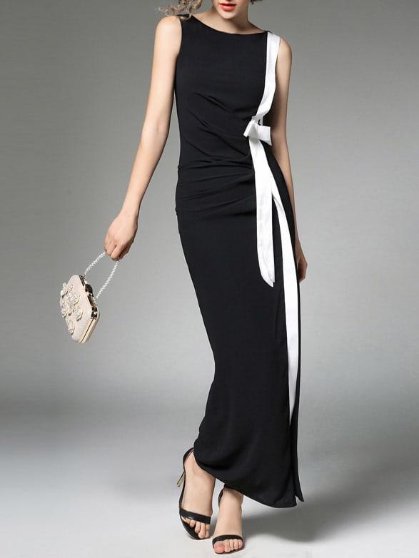 Contrast Trim Split Side Dress dress170810330