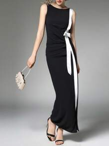 Contrast Trim Split Side Dress