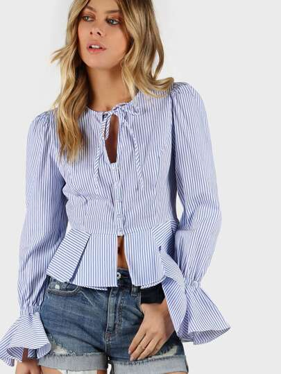 Bell Sleeve Striped Peplum Shirt