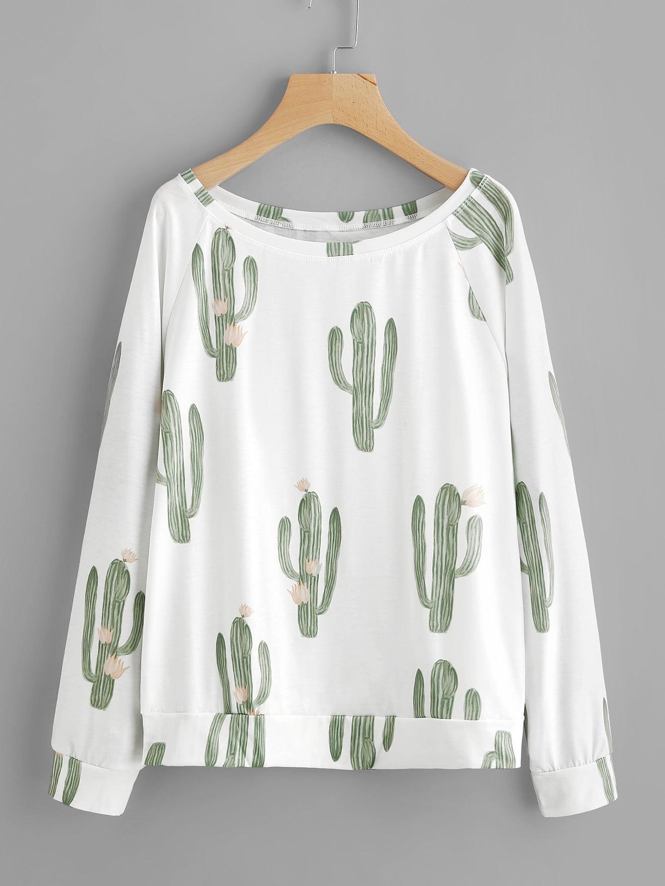 Cactaceae Print Raglan Sleeve Sweatshirt two tone raglan sleeve sweatshirt