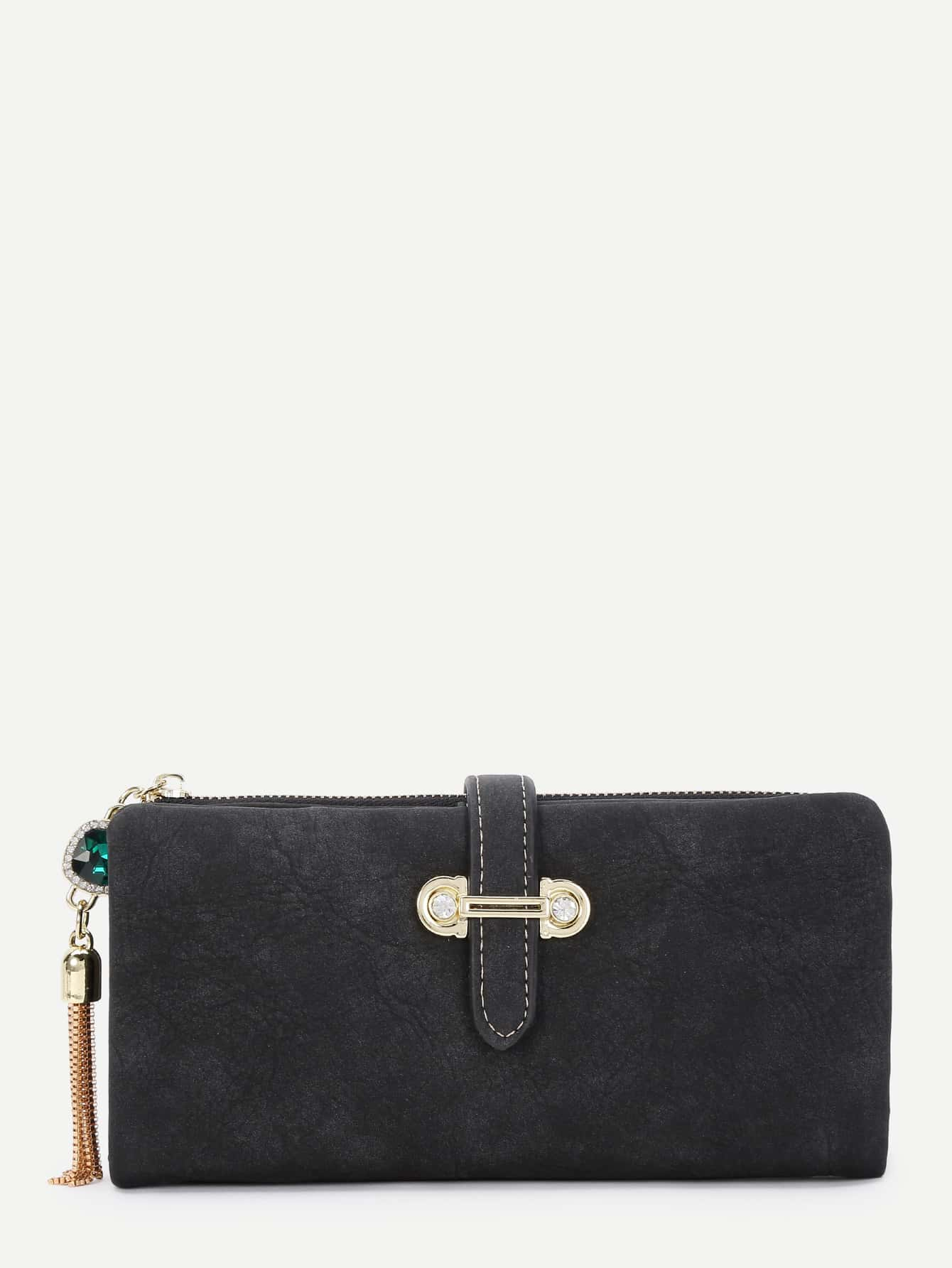 Chain Tassel Detail PU Wallet Set