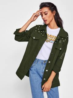 Pearl Beading Ripped Utility Jacket