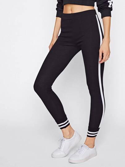 Striped Trim Skinny Leggings