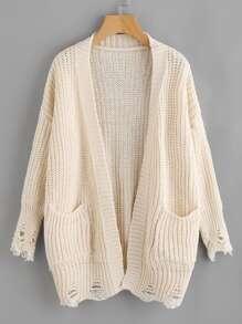 Distressed Detail Drop Shoulder Sweater Coat