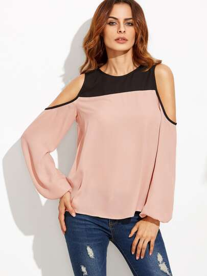 Contrast Cold Shoulder Keyhole Back Top
