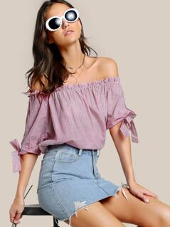 Off Shoulder Tie Sleeve Top PINK