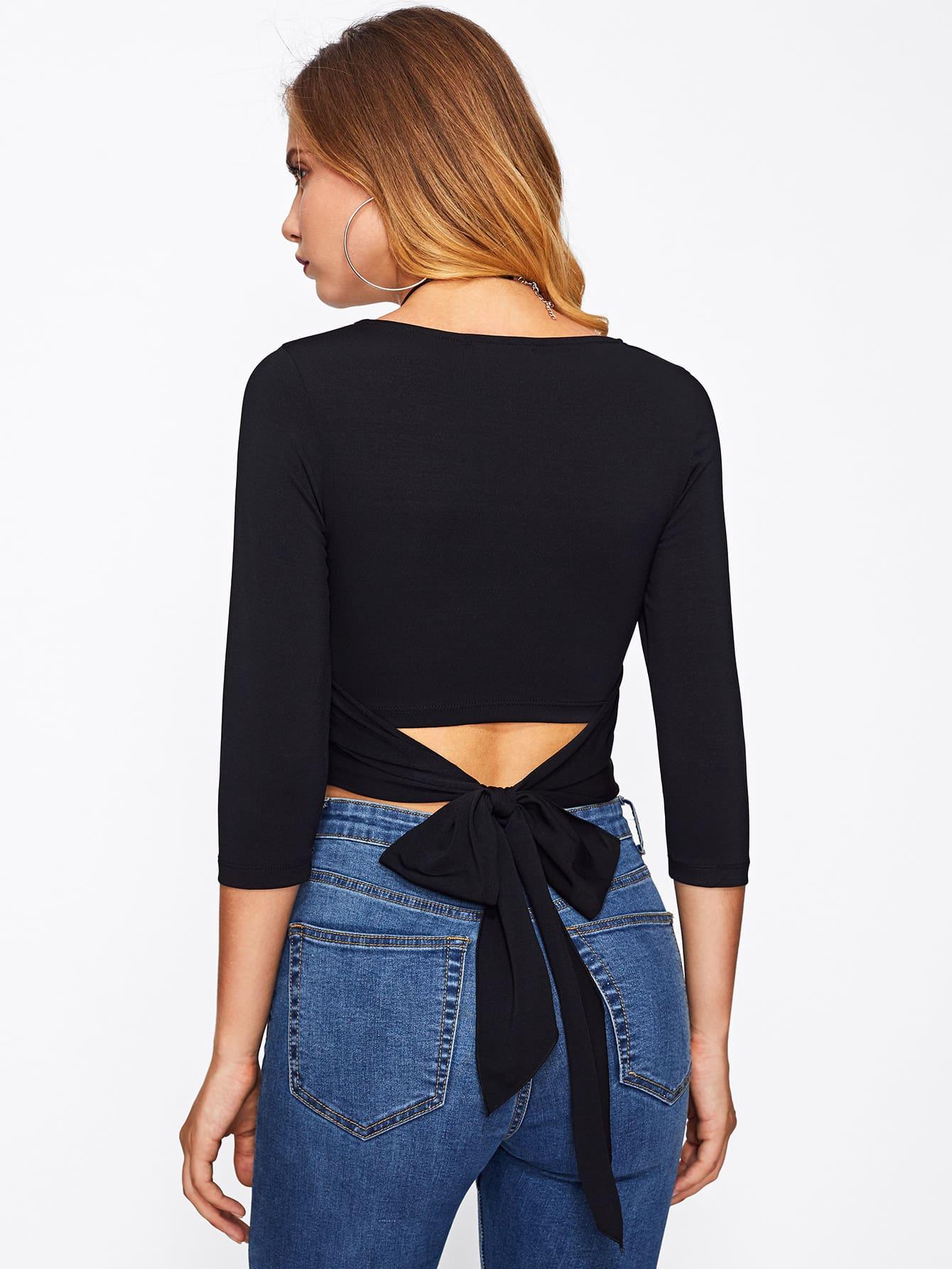 bow belt back form fitting crop tee shein sheinside. Black Bedroom Furniture Sets. Home Design Ideas