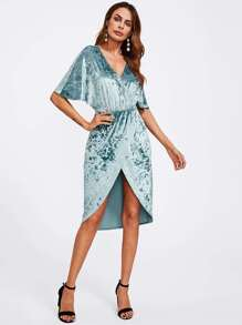 Dolman Sleeve Crushed Velvet Wrap Dress