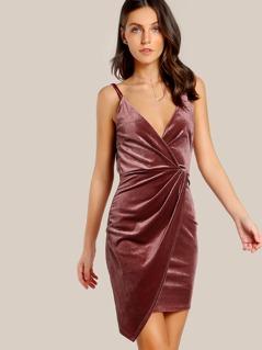 Spaghetti Strap Velvet Asymmetric Hem Dress PINK