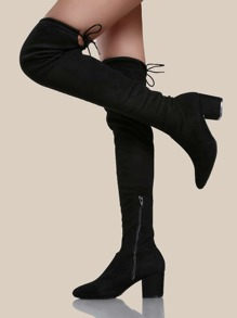 Drawstring Knit Chunky Heel Boots BLACK