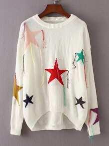 Sweater asymétrique découpé à motif des étoiles avec des franges