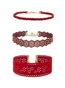 Cut Out Flower Design Choker Set 3pcs