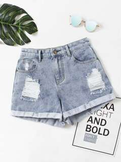 Faded Wash Cuffed Denim Shorts