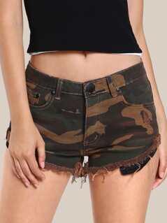 Camo Print Frayed Hem Shorts RUST