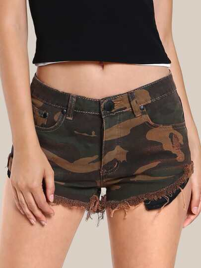 Camo Print Frayed Hem Shorts RUST