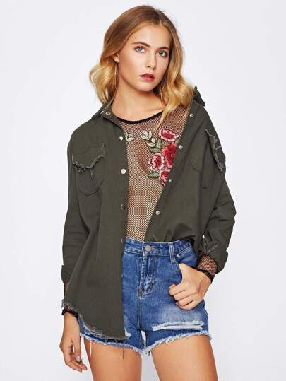 Frayed Curved Hem Denim Jacket