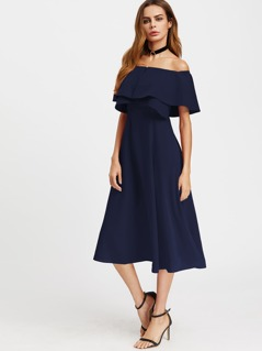 Layered Flounce Bardot Dress